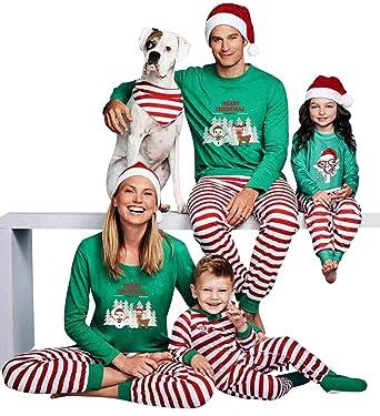 3b27f165011c3 Ensemble Pyjama Noel Famille Père Noël Bébé Enfant Femme Homme 2 Pièces  Mère Fille Garcon Homewear Chemisier Pantalon Rayé Sleepwear Renne Vêtement  de Nuit ...
