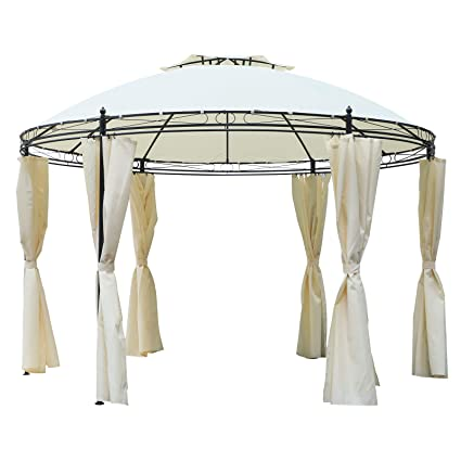 Incredible Outsunny 11 5 Steel Fabric Round Soft Top Outdoor Patio Dome Gazebo Shelter With Curtains Cream White Home Interior And Landscaping Synyenasavecom