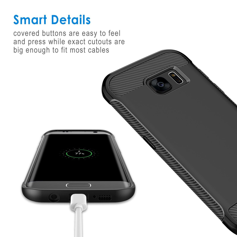 Anti-Choques Negro Carcasa con Fibra de Carbono JETech Funda para Samsung Galaxy S7 Edge