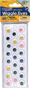 Creativity Street Peel & Stick Wiggle Eyes Assorted Sizes, Painted, 60-Piece (343807)
