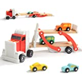 TOP BRIGHT Wooden Car Toys for 3 Year Old Boys Gift Car Carrier Truck Toy for Toddler with 4 Mini Cars