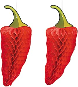 Red Chili Pepper Tissue Decor - Set of 3 - Hangning Cinco de Mayo Party Decor