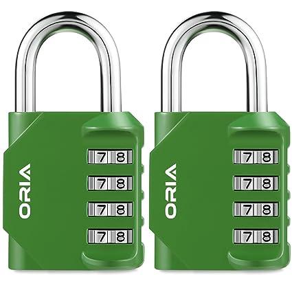Oria - Candado de combinación (2 unidades, 4 dígitos, candado de seguridad,