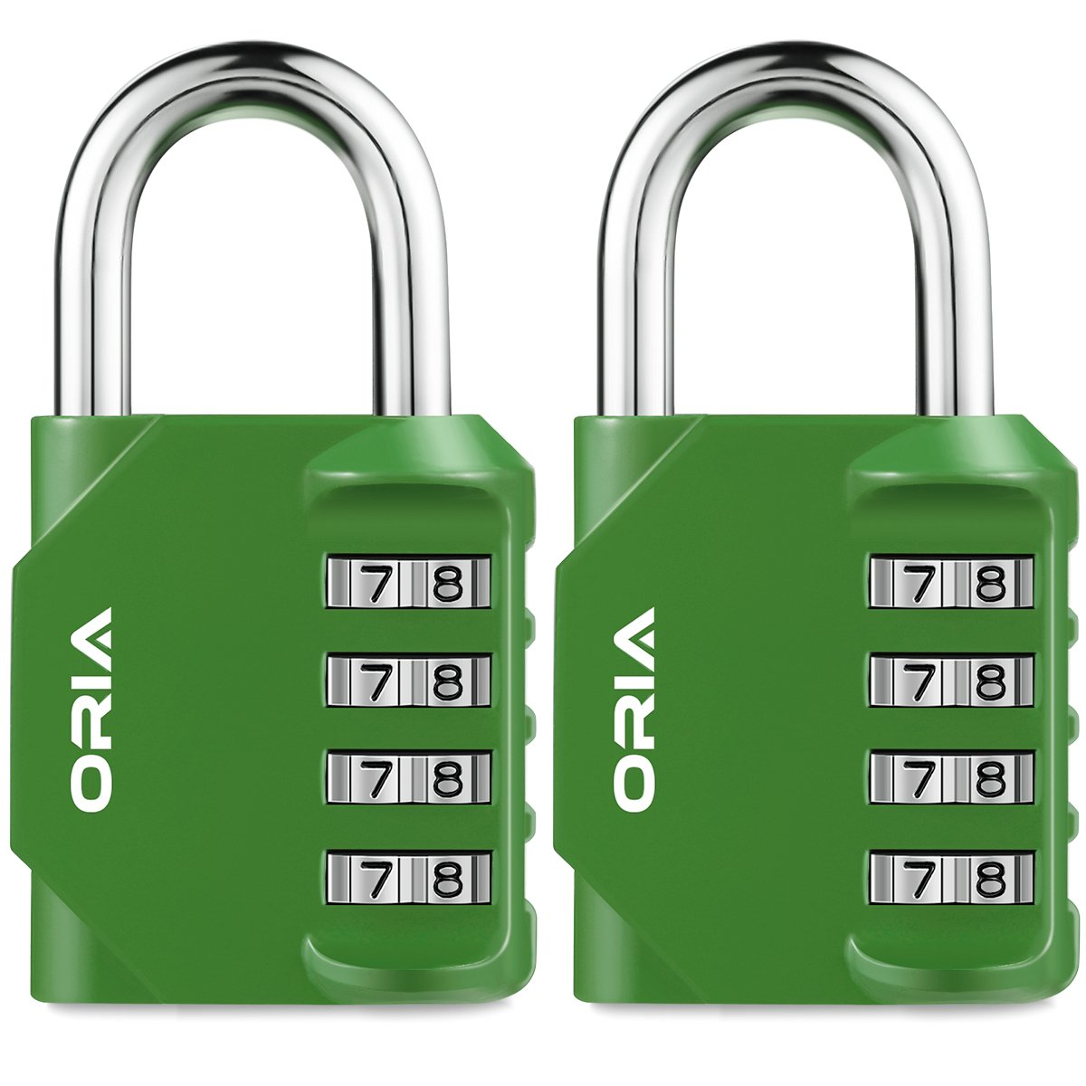 ORIA Combination Lock, 4 Digit Combination Padlock Set, Safety for School, Employee, Gym or Sports Locker, Case, Toolbox, Fence, Hasp Cabinet and Storage, Green and 2 Pack