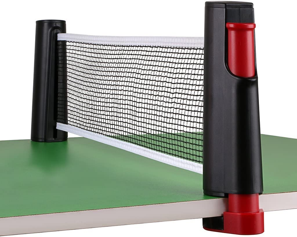 red retractil para ping pong ajustable hasta 1.8mts negro