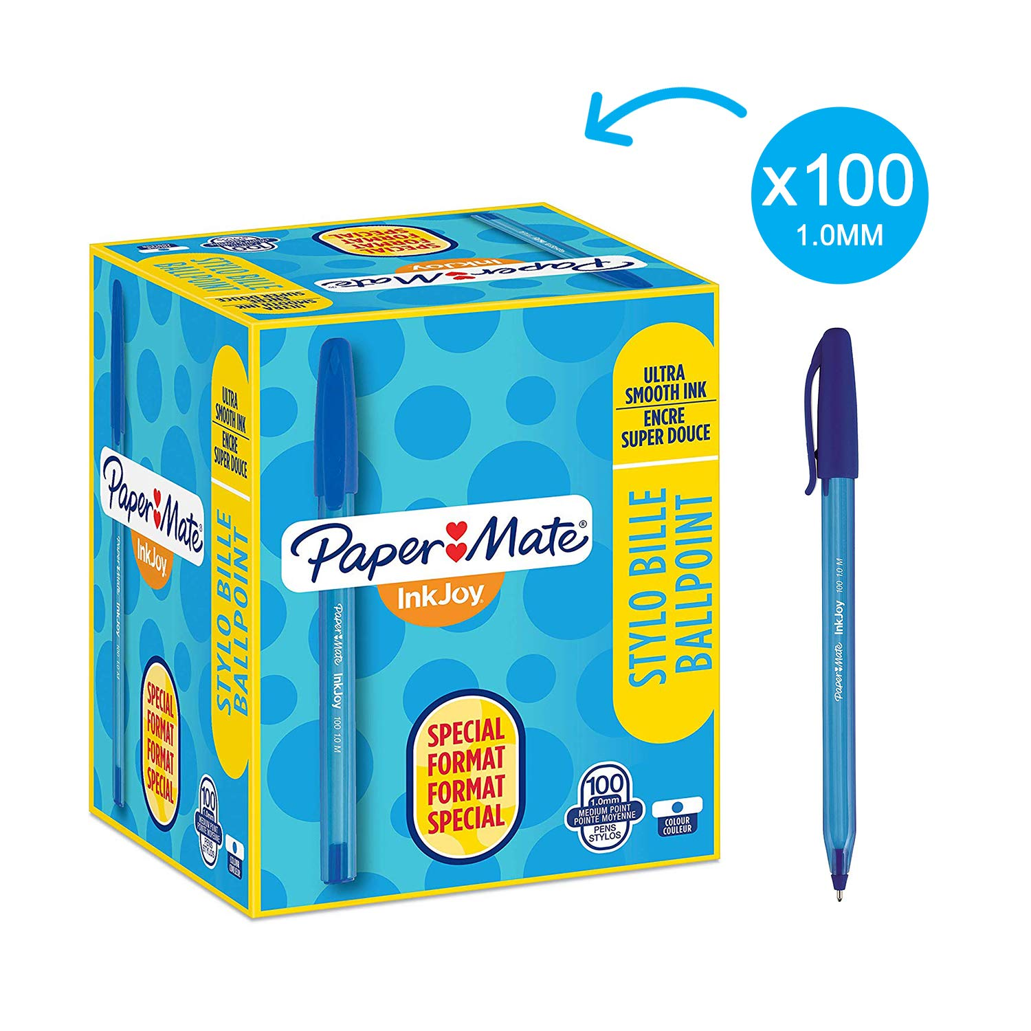 Pack of 80 20 Paper Mate InkJoy 100 ST Ball Pen with 1.0 mm Medium Tip Black