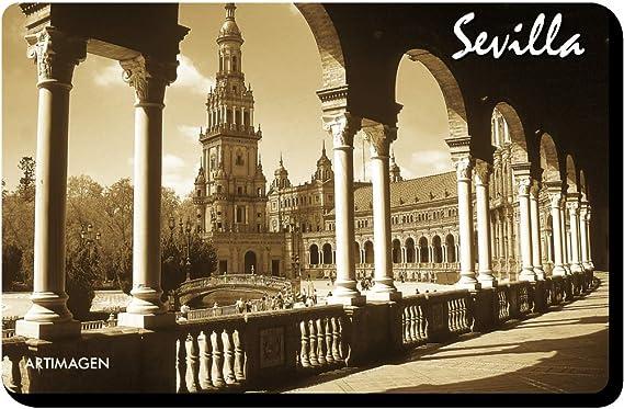 Artimagen Imán Plaza de España en Sevilla Sepia 70x45 mm.: Amazon.es: Hogar