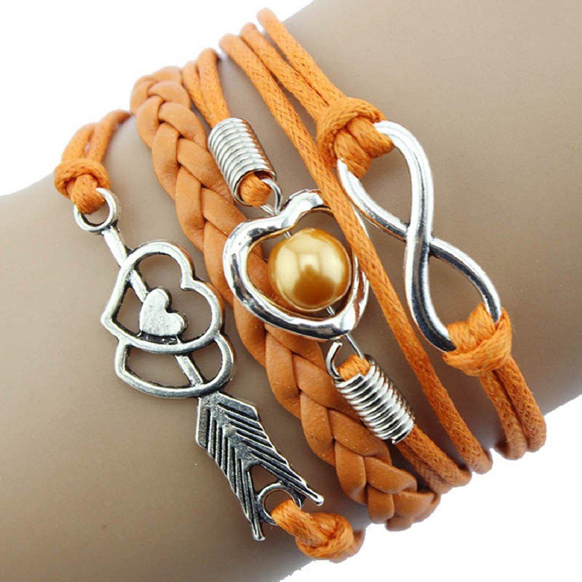 DOINSHOP Infinity Love Heart Pearl Friendship Antique Leather Charm Bracelet (pink)