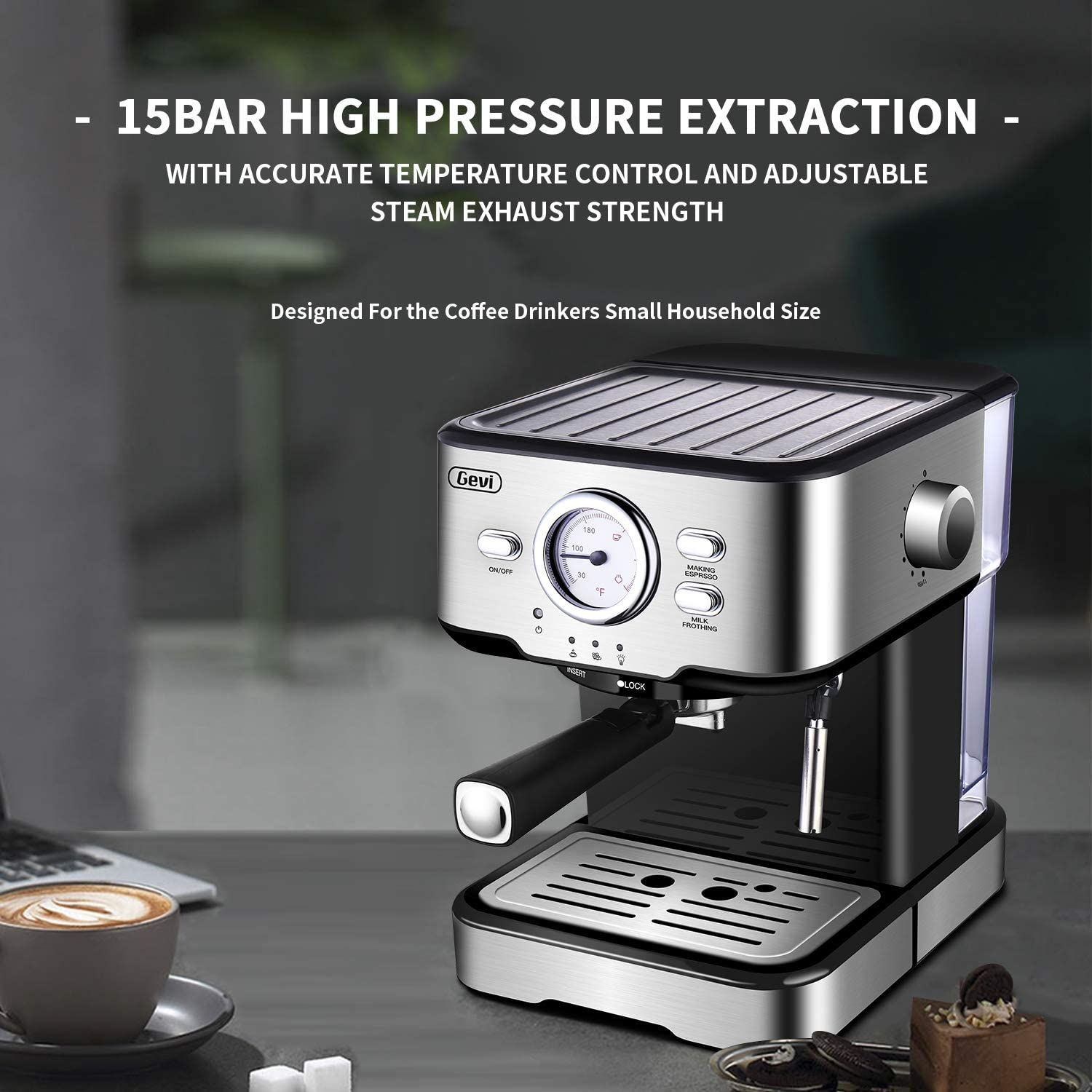 Espresso Machine Cappuccino Machine /& Latte Machine with 15 Bar Powerful Pump and Adjustable Milk Frothing,1100W