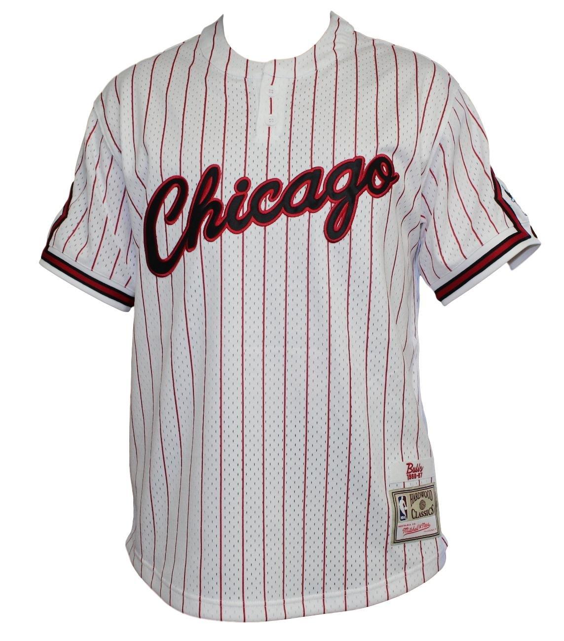 Chicago Bulls Mitchell & Ness - Gorra de hombre blanco Pinstriped malla de béisbol Jersey camiseta: Amazon.es: Deportes y aire libre