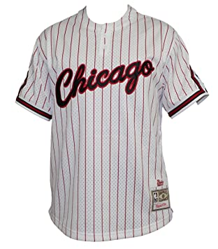 Chicago Bulls Mitchell & Ness – Gorra de hombre blanco Pinstriped malla de béisbol Jersey camiseta