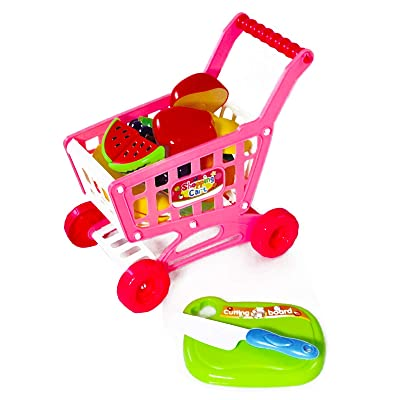 KidPlay Products Girls Pretend Play Grocery Shopping Cart Fruit Cutting Board: Toys & Games [5Bkhe0206238]