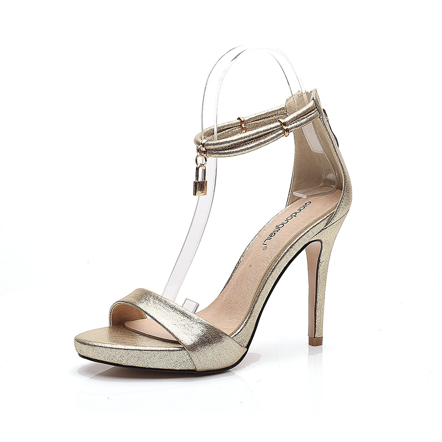 Sexy high heels fine with a deduction exposed toe high heel sandals female, golden, 37