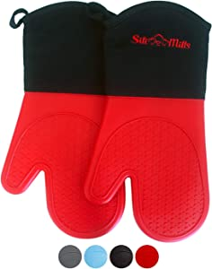 Red Silicone Pot Holder Oven Mitts - 1 Pair of Extra Long Professional Heat Resistant Pot Holder & Baking Gloves - Food Safe, BPA Free FDA Approved With Soft Inner Lining