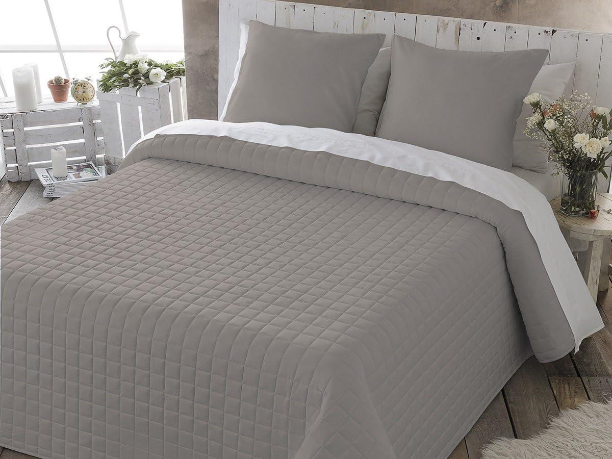 Fundeco Colcha Bouti IZAN cama de 135 cm. Color Piedra