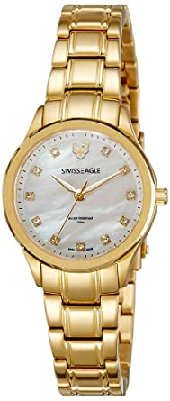 Swiss Eagle Analog Mother of Pearl Dial Women's Watch - SE-6047-55