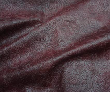 Amazon Com Wine Western Embossed Floral Faux Leather Vinyl