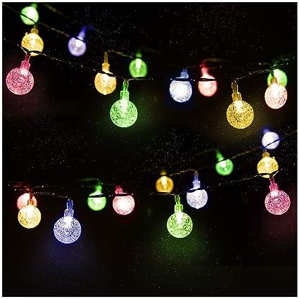 LED Solar Lichterkette Kristall Kugeln 4.5 Meter 30er Mehrfarbig, Mr.Twinklelight Außerlichterkette Deko für Garten, Bäume, T