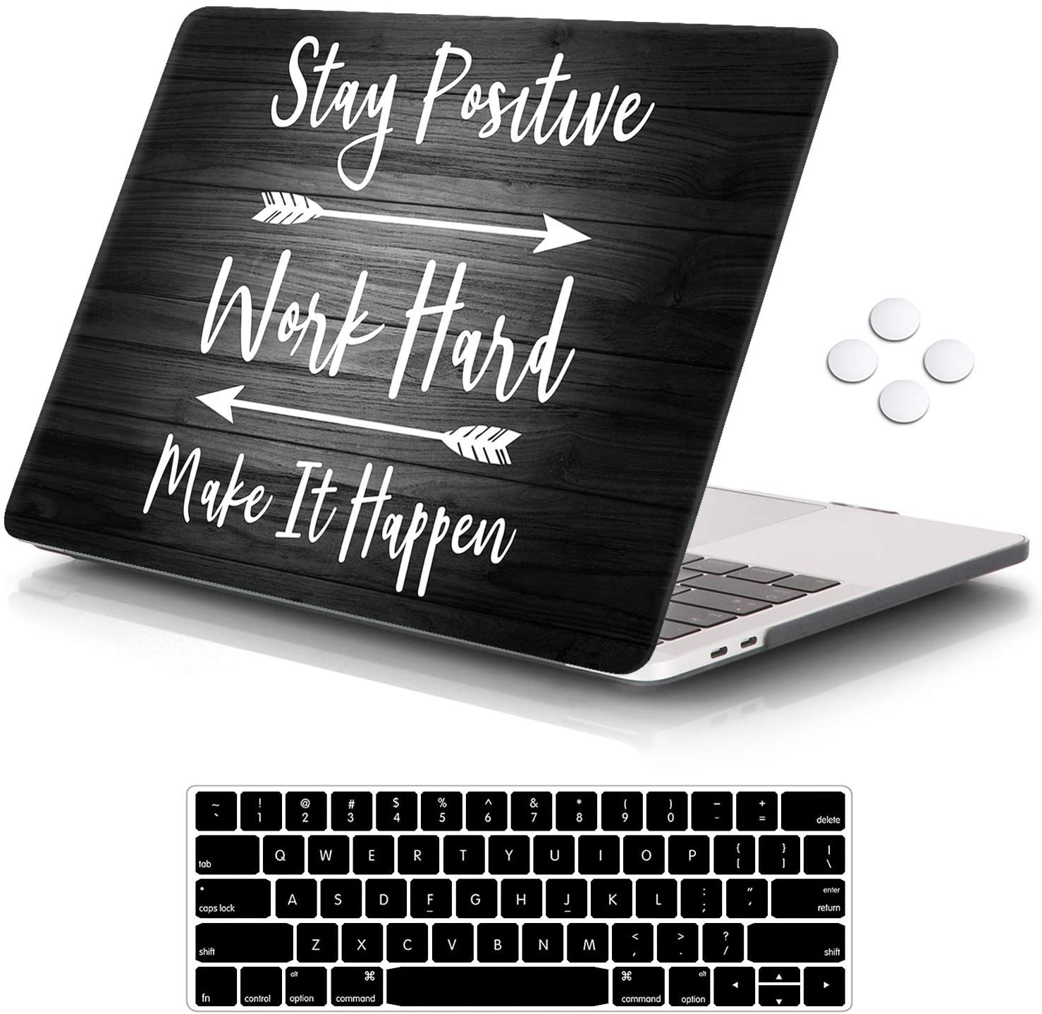 "iCasso MacBook Pro 13 inch Case 2019 2018 2017 2016 Release A2159/A1989/A1706/A1708, Plastic Hard Shell Case with 5 Rows Keyboard Cover Compatible Newest MacBook Pro 13"" - Stay Positive"