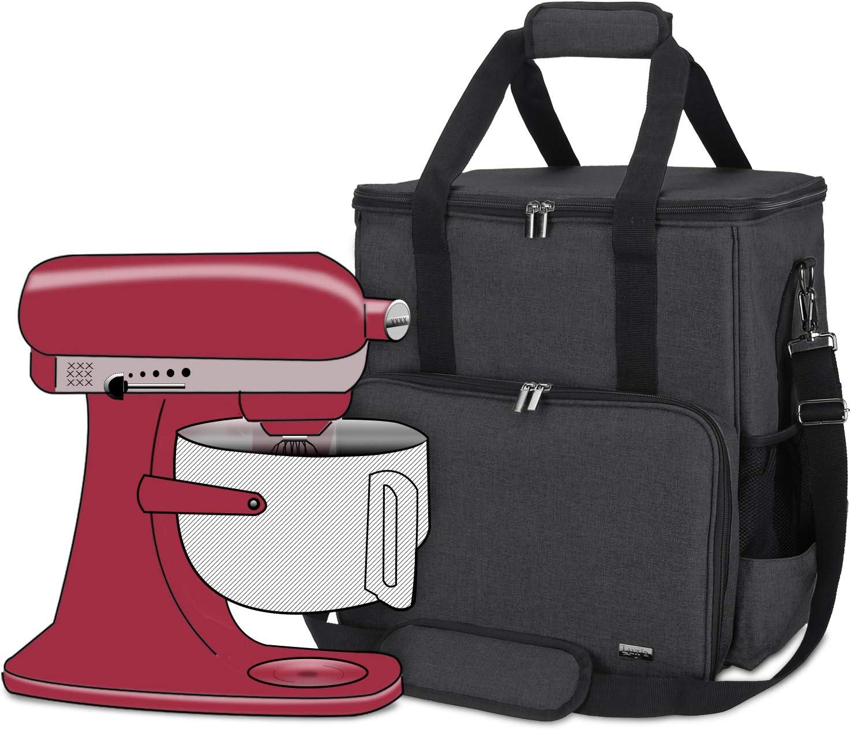 Luxja Bolsa de Almacenamiento para KitchenAid Batidora amasadora y Accesorios adicionales (Adecuado 5,6-7,5 litros KitchenAid Batidora amasadora), Negro