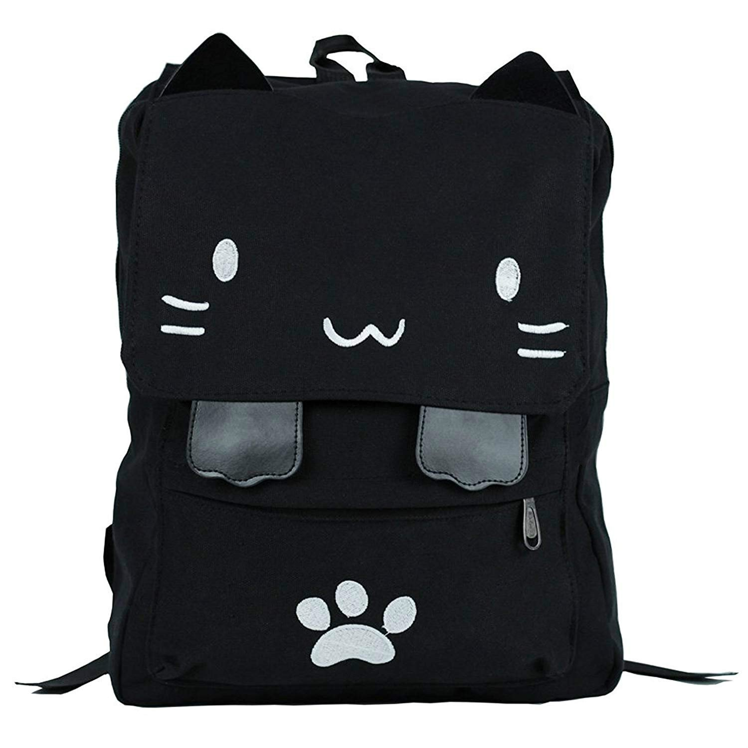 Sprite Beat Cute Canvas Cat Print Backpack School Bag Light weight Book Bags Ruchsack College Backpack Daypack Backpacks for Girls/Boys (White)