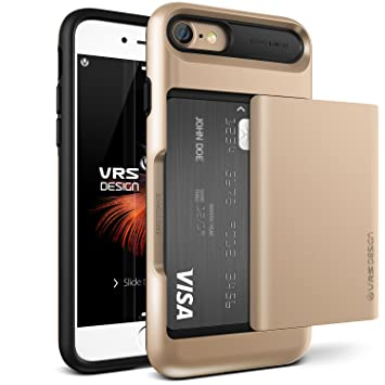 best service d0ff4 760fc iPhone 8 Case Wallet / iPhone 7 Case Wallet VRS Design® [Champagne Gold]  Protective Wallet Case with 2 Card Slot [Damda Glide] ShockProof Dual Layer  ...