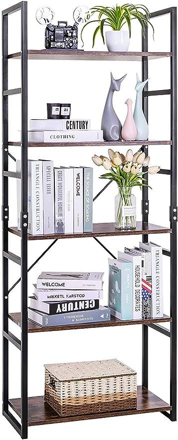 LLIVEKIT Estantería Vintage 5 Estante,Librería Estantería Cubo de Almacenamiento,Diseño Retro Multifuncional con 5 Estante para Oficina y Casa, 60,6 ...