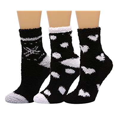 HELN Women Slipper Socks Cozy Soft Warm Winter Anti-Skid Crew Socks for Indoor Home Slipper 3 or 6 Pairs (3 Pairs Black & White Heart) at Women's Clothing store