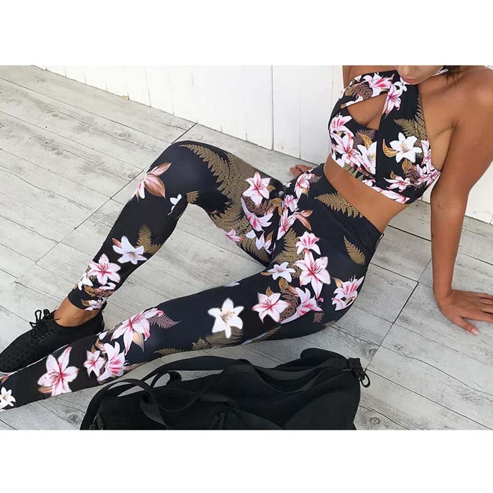 Juleya Frauen Sportanzug Yoga Legt Hemd BH Leggings Elastizit/ät Fitness Anz/üge Mode Drucken Trainingsanzug f/ür Yoga Laufen und andere Aktivit/äten