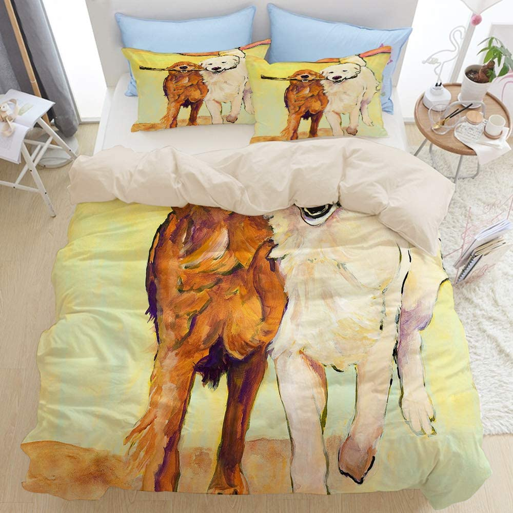 Mokale Sharing Playful Golden Retriever Animal Running Dogs 3 Pieces Queen Duvet Cover Set with 2 Pillow Shams,Decorative Comforter Cover Sets King Size Dorm Hotel Collection,Reversible Beige