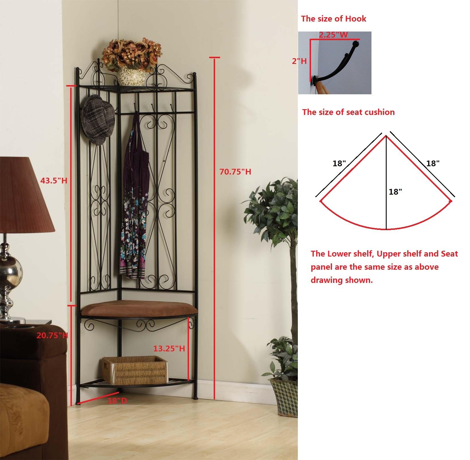 King's Brand Black Metal Corner Entryway Hallway Rack with Bench & 6 Hooks