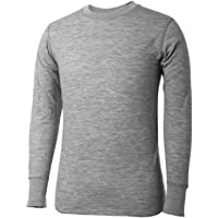 Terramar Men's 2-Layer Mid Weight Merino Wool Long Sleeve Top Tall, Heather Grey, XL