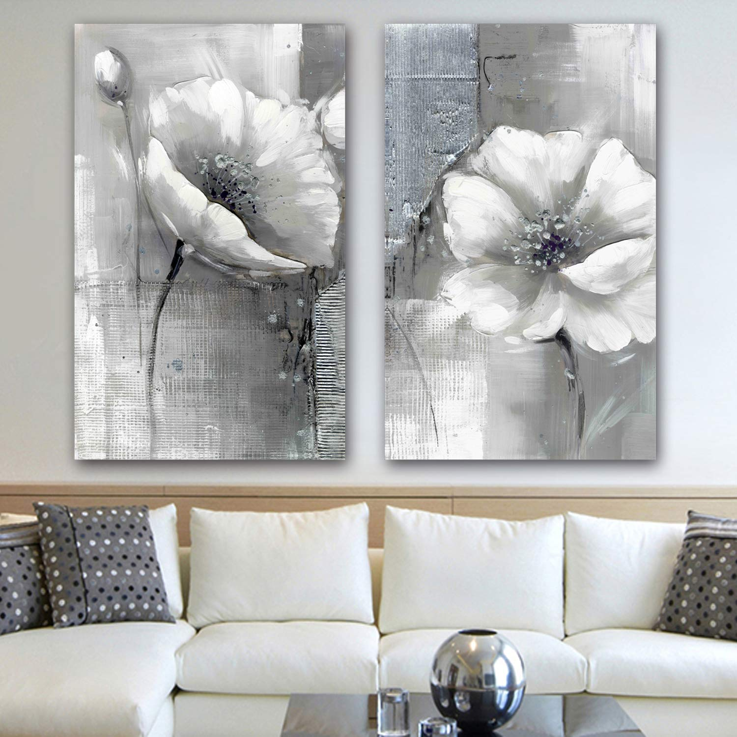 Meiyi yimei modern artwork giclee wall art white and grey flowers pictures paintings on canvas wall art ready to hang for living room bedroom home