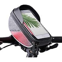 AIMUHO Fahrradtasche Lenker, Wasserdicht Fahrrad Lenkertasche MTB Fahrrad Handyhalterung Rahmentasche Fahrradlenkertasche mit Reflektierende Streifen (Passend bis zu 6,0 Zoll)