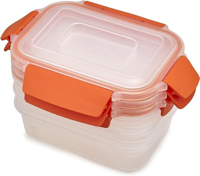 Joseph Joseph Nest Lock Plastic Food Storage Container Set with Lockable Airtight Leakproof Lids, 6-Piece Set/18oz, Orange