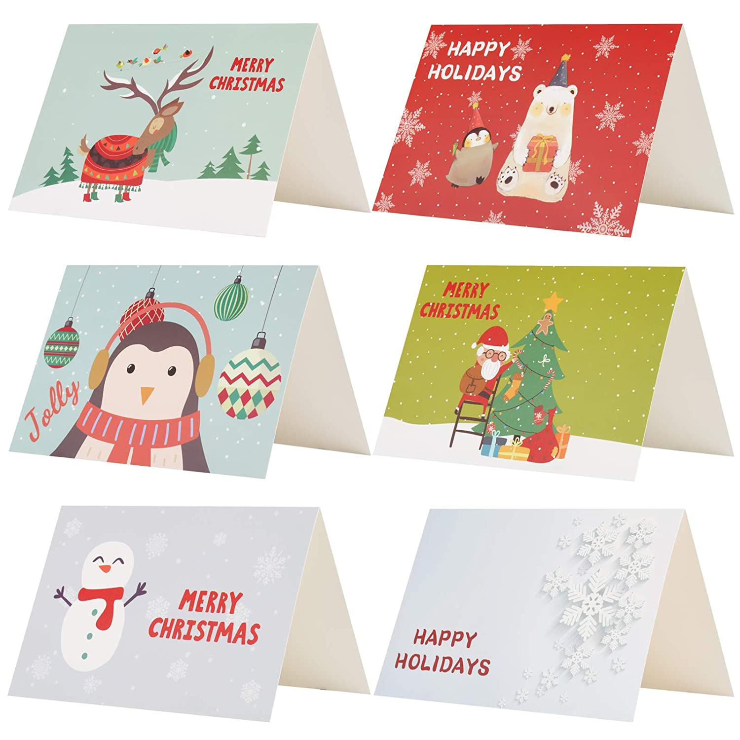 Kesoto Merry Christmas Greeting Cards - 24 Winter Holiday Xmas Greeting Cards, Envelopes and Stickers Included, 6 of Each Design, Blank Inside, 4 x 6 Inches, Cartoon
