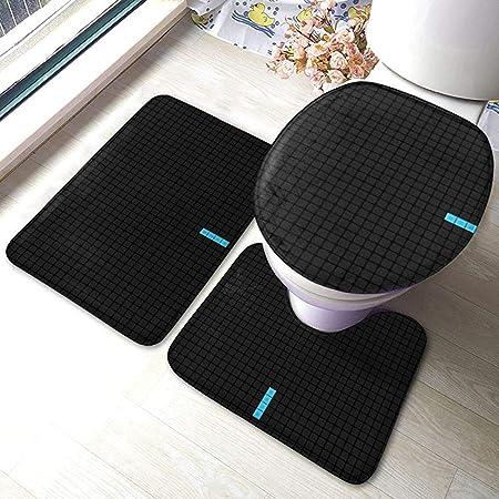 Aubrdon Juego de tapetes de baño Tetris, Tapa de Asiento de Inodoro Antideslizante, Tapa de tapete de baño, 3 Piezas/Juego de alfombras: Amazon.es: Hogar