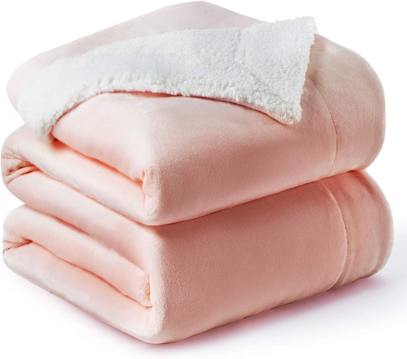 BEDSURE Sherpa Fleece Blanket Queen Size(Not Electrical) Dusty Pink Plush Blanket Fuzzy Soft Blanket Microfiber