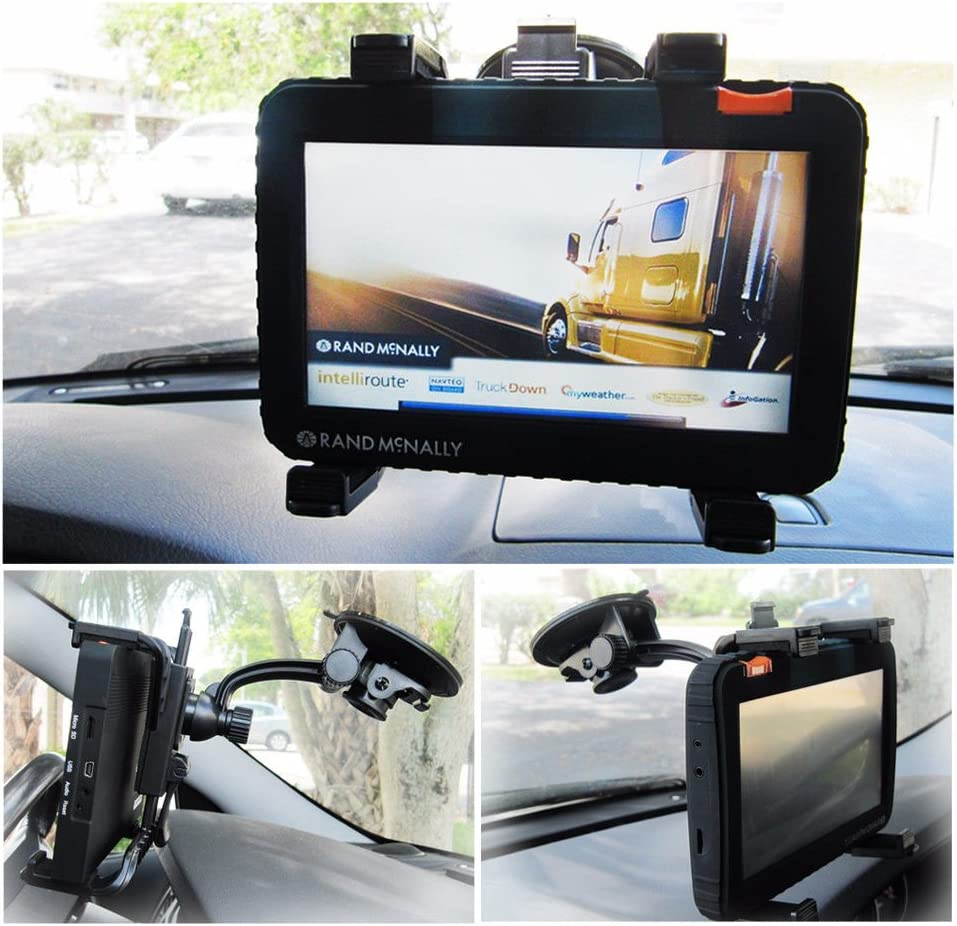 WMB7 Ramtech Car Vehicle Truck Adjustable Windshield Suction Mount Holder Bracket Stand Suitable for Rand McNally OverDryve 7 8 PRO GPS Note: Fits Tablet GPS and Magnetic Slice Mount