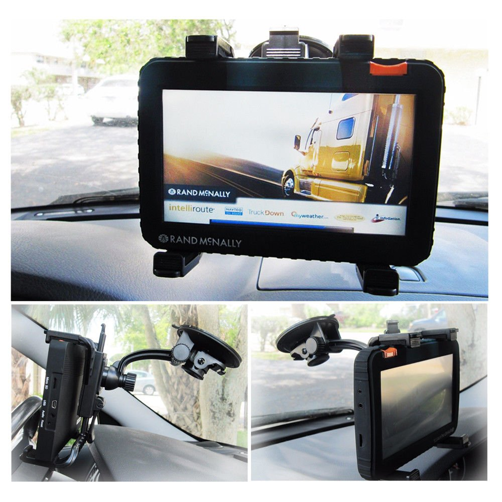 Ramtech Car Vehicle Adjustable Windshield Suction Mount Holder Bracket Stand Suitable For Rand McNally Good Sam RVND 7725 LM 7735 LM GPS - WMB7