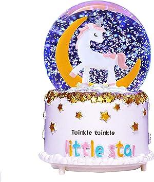 VECU Unicorn Snow Globe, 100 MM Automatic Snowfall Cartoon Moon Music Box Home Decoration for Girls Kids Granddaughters Babies Birthday Christmas Sock Gift, Musical, Resin/Glass