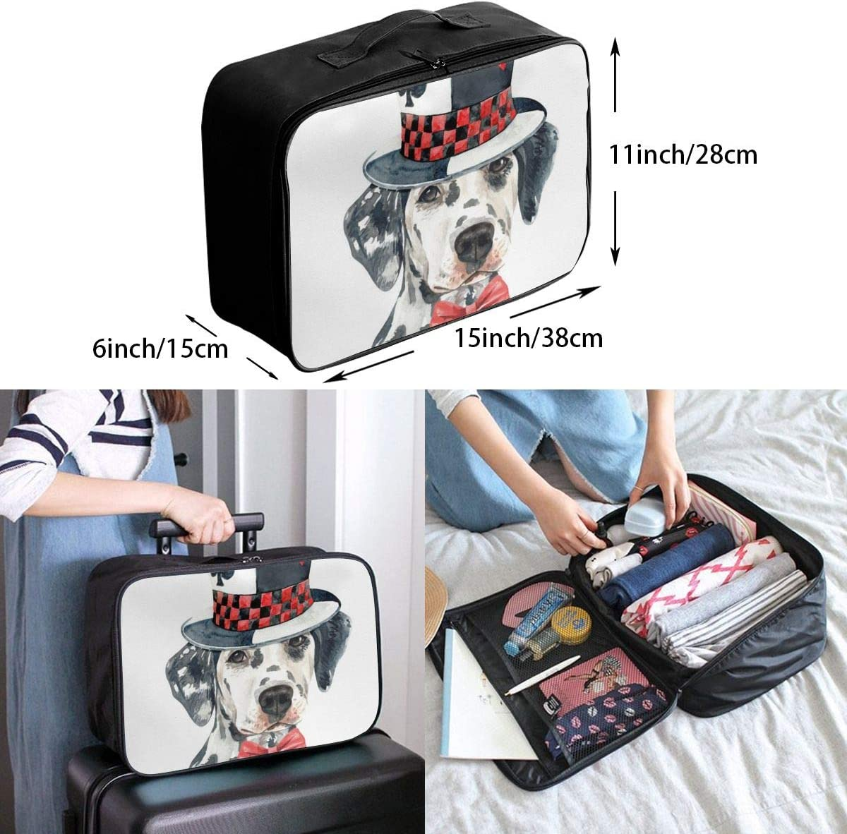 Dalmatian Dog Magic Top Hat Lightweight LargeTravel Storage Luggage Trolley Bag Travel Duffel Bags Carry-On Tote