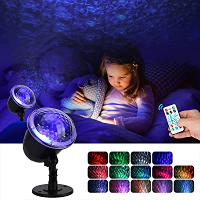 Night Light Projector for Kids, KINGWILL Ocean Wave Projector Light with Ripple RGB 3D Water Effect, Remote Control Nursery Lamp Waterproof for Bedroom Garden Wedding Party Disco: Home Improvement