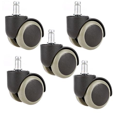 Leeko 5 Pcs Ruedas para Sillas de Oficina- Ruedas de la Rotación Caster para Suelos Duros (Negro)