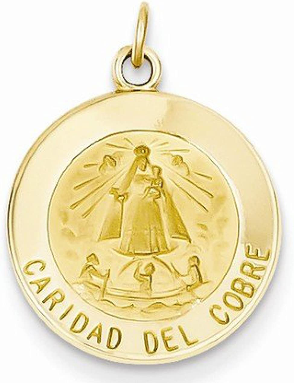 ITI Findings Genuine 14K Yellow Gold Round Caridad Del Cobre Medal