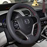 16sixteen Luxury Hand Sewing Anti-Slip Breathable Nappa Patchwork Leather Stitch On Car Steering Wheel Cover for The 9th Generation of Honda Civic, Black Cover, 9 Color Threads