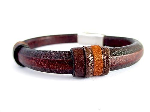Pulsera de cuero marrón, pulsera para hombre de cuero genuino, complementos para hombre hecho a mano, regalos para hombre, diseño exclusivo en cuero, pulsera de moda: Amazon.es: Handmade