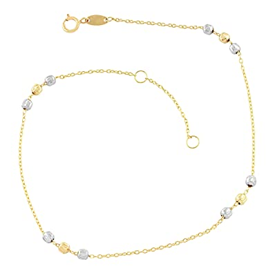 anklet gold dangling heart silver sterling v over p