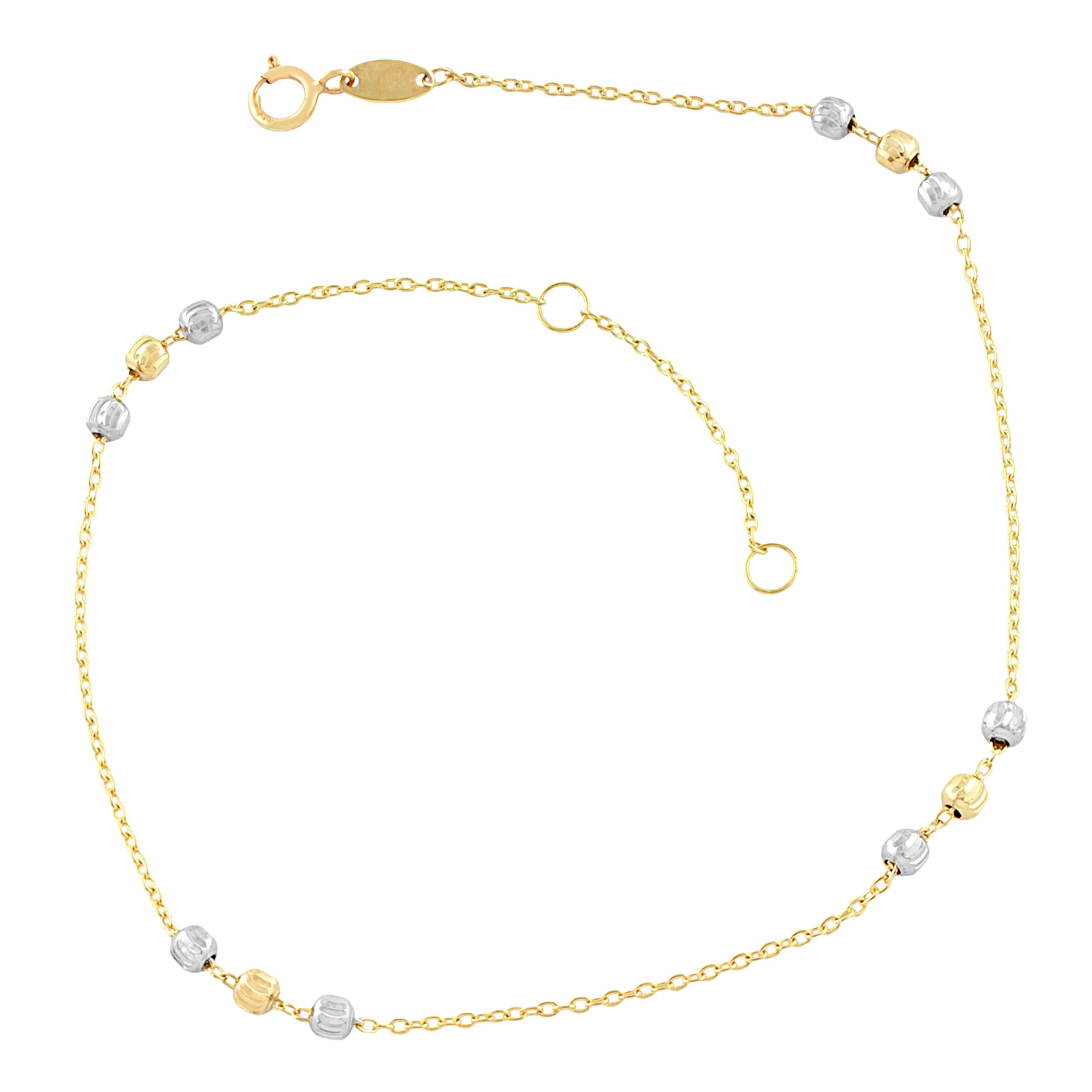 10k Two-Tone Gold Bead Station Anklet (fits 9'' or 10'')
