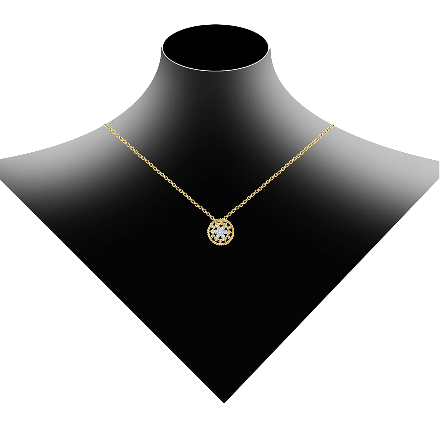 18 inch Diamond Scotch 14k Gold Finish 0.19 Ct Cubic Zirconia Vintage Cluster Flower Circle Pendant Necklace for Women Girl